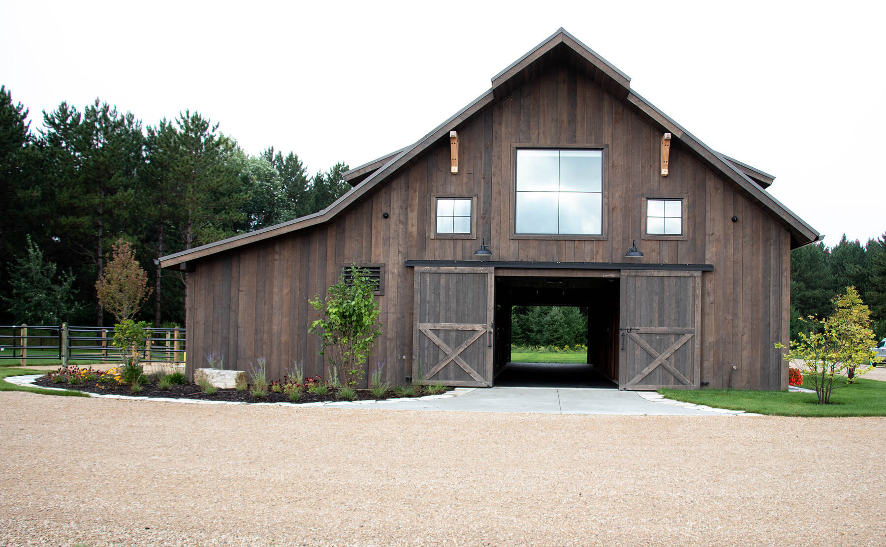 Twin Cities New Construction Barn Pros Equestrian Barn Stillwater Minnesota exterior front view built by Red Pine Builders